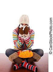 woman with flu symptoms - sad woman with flu symptom...