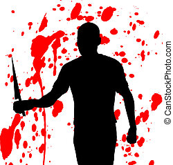 The Slasher - Concept image featuring a silhouetted violent...