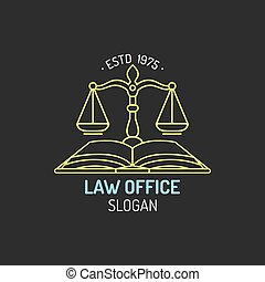 Law office logo with scales of justice illustration. Vector...