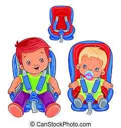 Small children in car seats - Vector illustration of small...