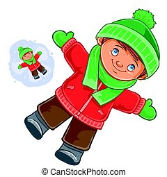 Little child wallow in the snow - Vector winter illustration...