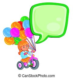 Small girl ride tricycle with balloons - Vector illustration...
