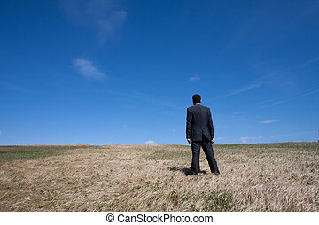 Alone at the field - businessman standing alone at the field