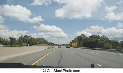 Summer highway driving - Driving on Highway 401 in Ontario...