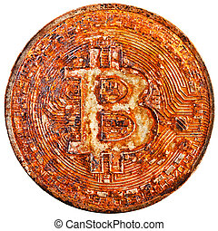 bitcoin is already over - rusty bit-coin isolated on white...