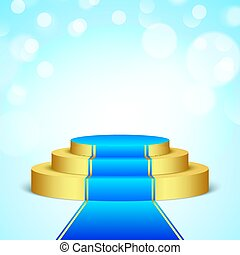 golden stage with blue carpet.