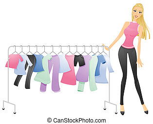 Dress - A Curvy Woman Pushing a Movable Rack of Clothes