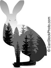 Silhouette of hare