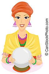 Fortune Teller - A Fortune Teller Holding Her Crystal Ball
