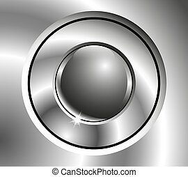 Image chrome button with sphere in center.