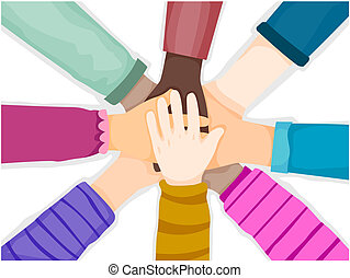 Hands Unite - Unity Represented by CHildren's Hands Placed...