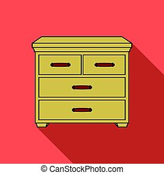 Wooden cabinet with drawers icon in flat style isolated on...