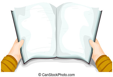 Handbook - A Blank Book for Background held open by a person...