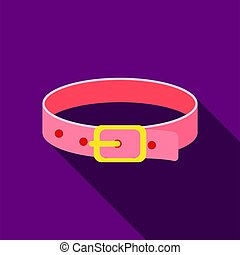 Pet collar icon in flate style isolated on white background. Cat symbol stock vector illustration.