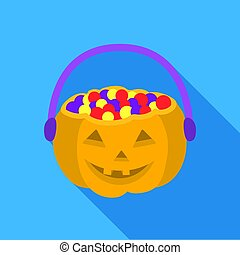 Halloween bucket icon in flate style isolated on white...