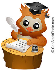 Owl Quill - An Owl Writing Something with a Quill
