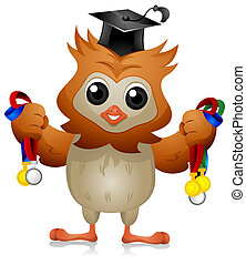 Owl Medals - A Cute Owl Holding Various Medals in Each Hand...