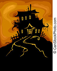 Haunted Castle - Halloween Design Featuring the Silhouette...