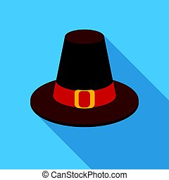Pilgrim hat icon in flate style isolated on white...