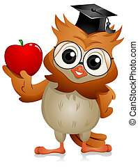 Owl Apple -  A Bespectacled Owl Holding an Apple