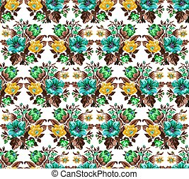 Color bouquet of flowers.Seamless. Pattern
