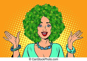 Eco woman hair green plants nature. Environmentalist...