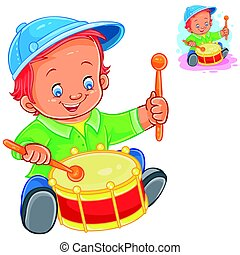 Little boy beat the drum - Vector illustration little boy...