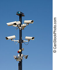 Cluster of Security Cameras - Cluster of security cameras at...