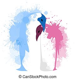Vector flat illustration of a pair of penguins