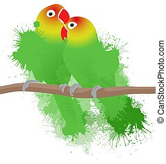 Vector illustration of lovebirds parrots with watercolor...