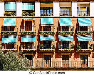 Vintage Apartament Building Block Exterior Facade