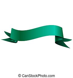 Realistic shiny aqua ribbon isolated on white background. With space for text. Vector illustration