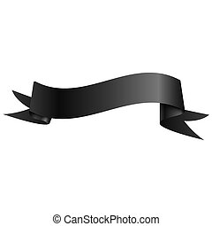 Realistic shiny black ribbon isolated on white background. With space for text. Vector illustration