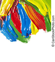 color strokes oil paint brush art - close up of color...