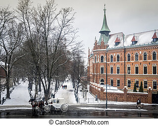 Winter view of Seminary, Planty park and carriage in Krakow,...
