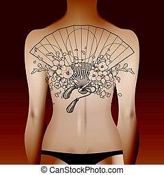 Woman body with tattoo - Woman body with asian hand fan...