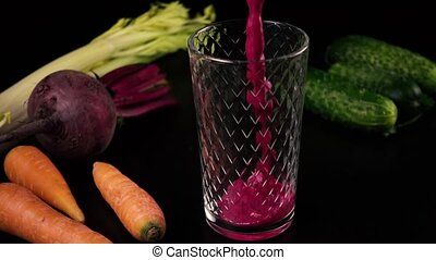 Smoothies from fresh cucumbers, carrots, celery and beets....