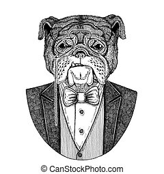 Bulldog Dog Hipster animal Hand drawn illustration for...