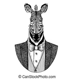 Zebra Horse Hipster animal Hand drawn image for tattoo,...