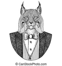 Wild cat Lynx Bobcat Trot Hipster animal Hand drawn...