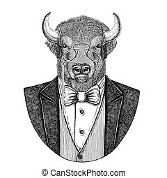 Buffalo, bison,ox, bull Hipster animal Hand drawn image for...