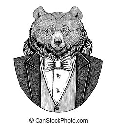 Grizzly bear Big wild bear Hipster animal Hand drawn...
