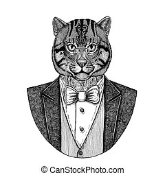 Wild cat Fishing cat Hand drawn illustration for tattoo,...