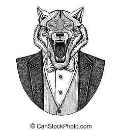 Wolf Dog Hipster animal Hand drawn image for tattoo, emblem,...
