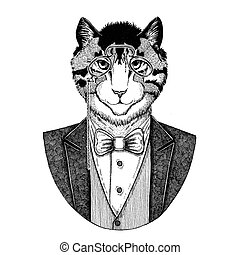 Image of domestic cat Hipster animal Hand drawn illustration...
