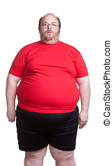 Very Obese Man - Obese man at 400lbs - front