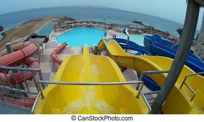 slide on a yellow pipe at Aqua Park Egypt Hurgada POV go pro...