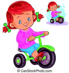 Small girl riding a tricycle - Vector illustration of small...