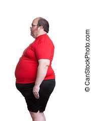 Very Obese Man - Obese man at 400lbs - left