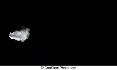 White smoke wave on an isolated black studio background,...